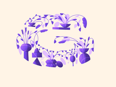36 Days of type - G alphabet daily lettering leaves floral art ipad procreate drawing illustration plant illustration vases plants flowers floral composition letter