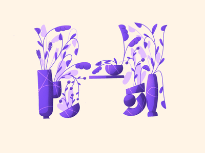 36 days of type - H lettering ipad drawing shapes forms plants plant alphabet illustration