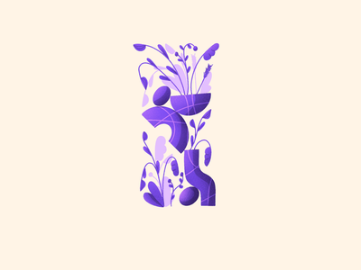 36 Days of Type - I 36daysoftype daily leaves alphabet vases shapes plants lettering letter flowers procreate illustration