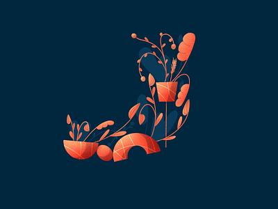 36 Days of type - J ipad 36daysoftype plants illustration design alphabet floral