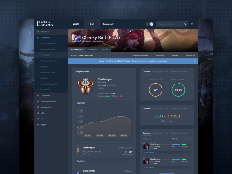 LeagueOfGraph Profile page design application tech sketch popular shot dribbble screen gaming product game dashboard charts stats ux clean ui leagueoflegends lol