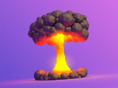 Blast explosion impact mushroom cloud low-poly cinema4d c4d kaboom boom