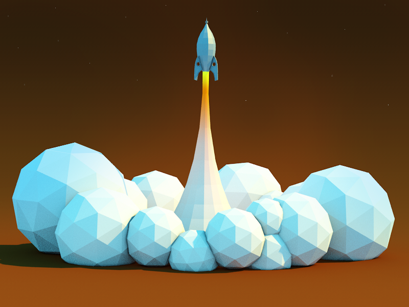 Rocket Lift off rocket low-poly render c4d scene file smoke source file