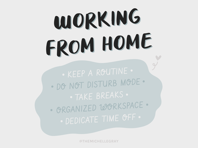 Working From Home hope routine typography tips freelance work from home motivation inspiration vector illustration handwritten covid-19