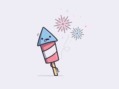 Crackle comic characterdesign 4thofjuly fireworks kawaii design vector illustration