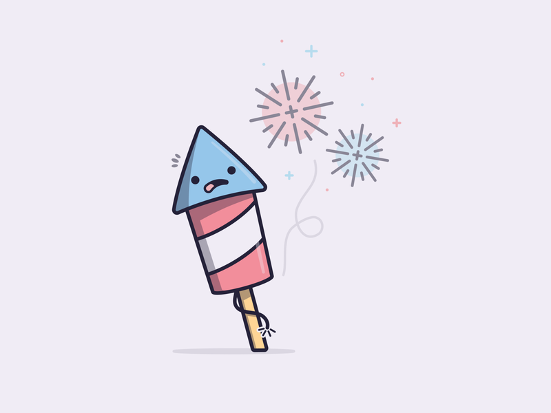 Crackle comic characterdesign 4thofjuly fireworks kawaii design vector illustration