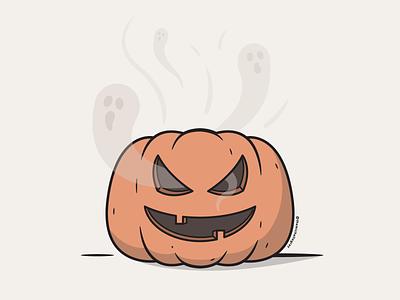 Vectober 2020 - Day 2 spooky haunted ghost jack o lantern pumpkin autumn fall vectober vector illustration inktober