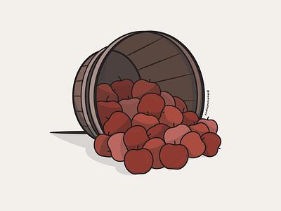 Vectober 2020 - Day 3 barrel basket harvest apple picking apple apples vector illustration fall autumn vectober inktober
