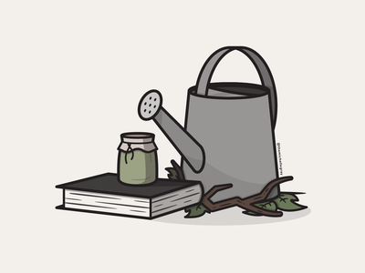 Vectober 2020 - Day 4 nature book jam watering can fall autumn green witch cottagecore vectober inktober vector illustration