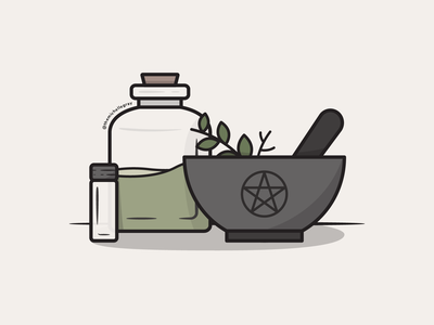 Vectober 2020 - Day 6 witchy jars mortar and pestle kitchen witch green witch apothecary pentacle witchcraft vectober inktober vector illustration