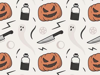 Vectober 2020 - Day 7 potions ghost pentacle potion jackolantern pumpkin wallpaper spooky autumn halloween vectober inktober pattern vector illustration