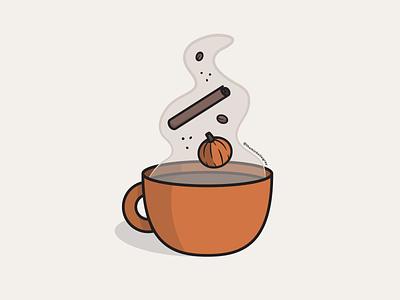 Vectober 2020 - Day 9 potion autumn fall coffee latte pumpkin spice psl pumpkin weeklywarmup inktober vectober vector illustration