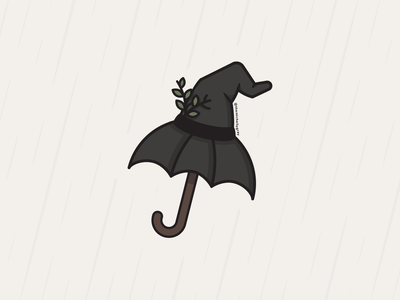 Vectober 2020 - Day 12 spooky vectober inktober autumn fall halloween rainy day rainy umbrella witch witchy witch hat vector illustration