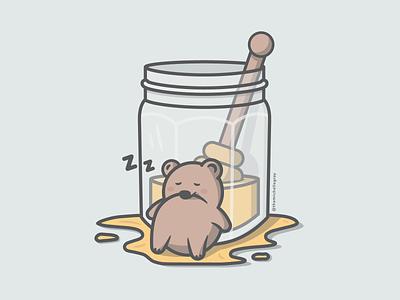 Honey-Drunk mason jar dtiys bear honey food flat linework vector illustration