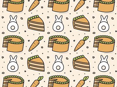 Carrot Cake Pattern pattern food illustrator carrot cake rabbit bunny cake dtiys linework vector illustration