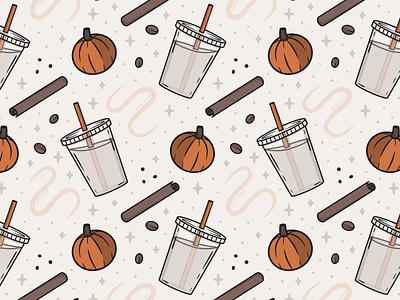 PSL Pattern drink pumpkin spice latte pumpkin spice psl iced coffee coffee dunkin illustrator pattern graphic design fall autumn food flat linework vector illustration