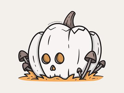 Skel-o-lantern jackolantern skull illustrator mushroom dtiys pumpkin autumn fall flat linework vector illustration
