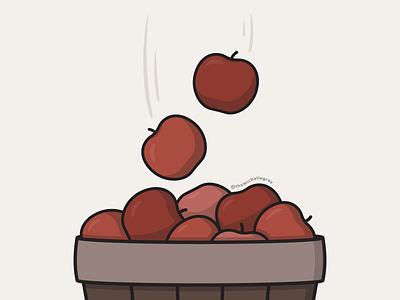FALLing Apples art challenge cozytember illustrator apple picking apple orchard apples autumn fall food flat linework vector illustration