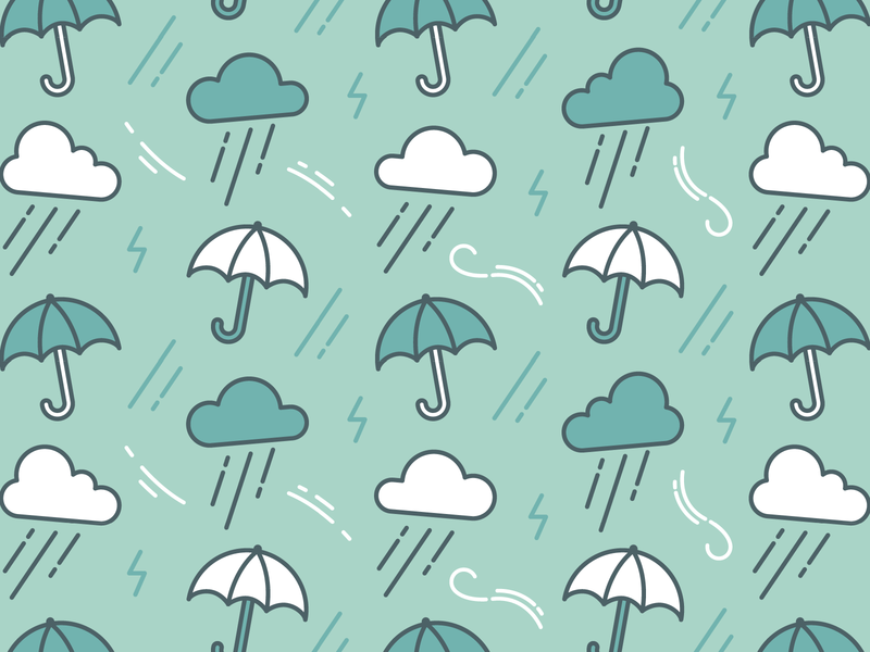Storms & Seas Pattern owlcrate storm rain umbrella packaging pattern icon simple flat linework vector illustration