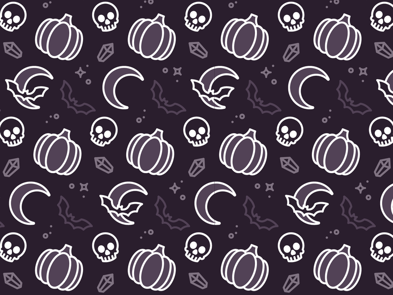 Halloween Pattern spooky crystal bat skull pumpkin halloween pattern linework vector illustration