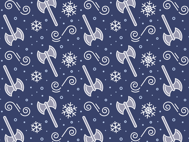Winter Battle Pattern packaging snowflake snow winter ax owlcrate pattern flat linework vector illustration