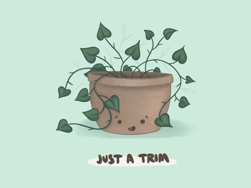Just A Trim comic ivy kawaii plant procreate illustration