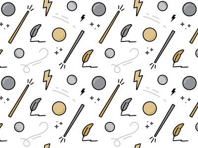 Order of the Phoenix Pattern icon orb packaging owlcrate lightning wand pattern harry potter flat linework vector illustration