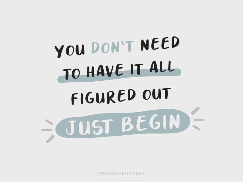 Just Begin sketchy procreate simple handwritten instagram motivation inspiration typography quote illustration