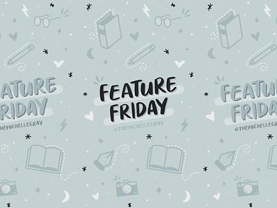 Feature Friday! book pattern friday feature instagram procreate handwritten typography branding flat linework vector illustration
