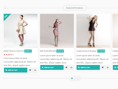 Featured Products css html js ecommerce products carousel
