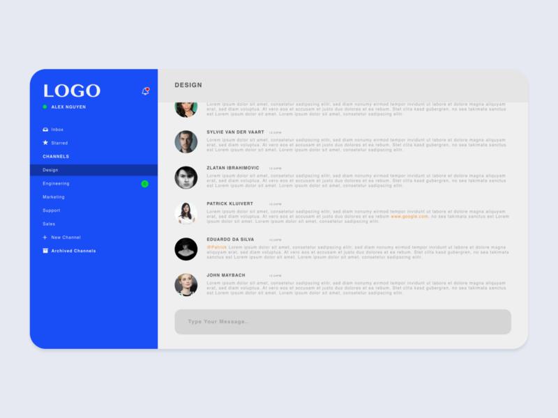 Messaging Dashboard Design desktop app desktop web concept experiment blue user interface design user experience interaction interface chat app chatbox app design clean dashboard messaging chat ux ui design