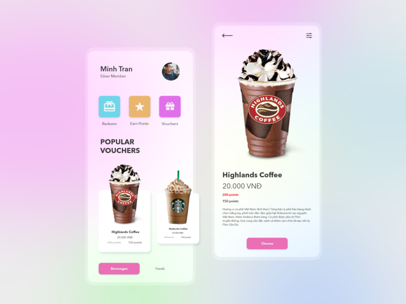 Coffee Voucher concept pastel color icons mobile app design mobile ui mobile app beverages drinks voucher popular cafe coffee starbucks highlands business ux ui design