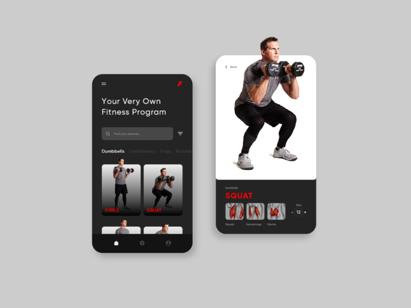 F is For Fitness App Concept fit squat dark background darkmode uidesign uiux ui design mobile app design mobile app mobile ui mobile adobexd concept workout fitness app fitness business ux ui design