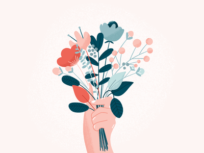 happy mother's day 💕 flower buds eucalyptus hand bouquet celebrate mothers day flowers art texture plants design procreate illustration