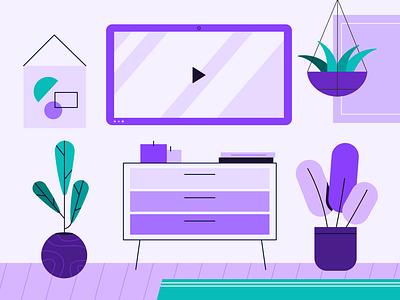 purple theme tv vector scene candle tech plants art design illustration