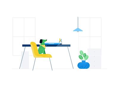 virtual meeting webex zoom scene plants pattern office meeting light illustration gid dog desk design chatting chair cat animation