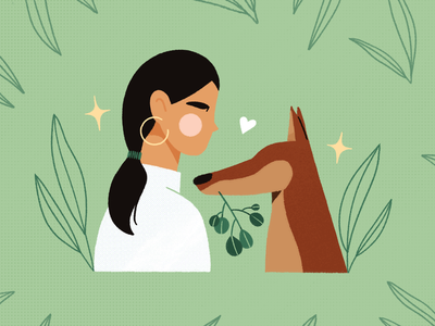 feelin' green sketch doberman heart sparkles dog character art texture plants procreate design illustration