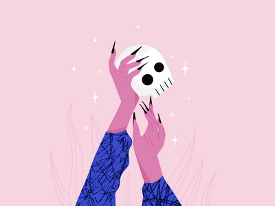 spooky szn ✨ nails flames plants texture art spooky skull hands procreate halloween illustration