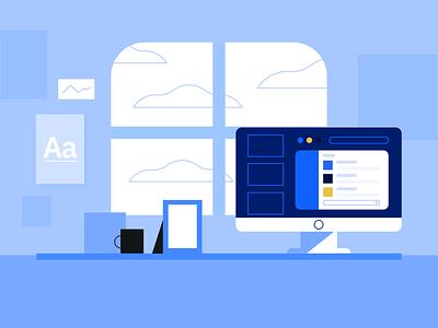 slack blues clouds window chatting slack wfh desk computer design illustration