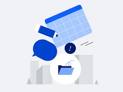 info overload simple concept scene chat bubble pencil emptystate files folder calendar city balance stack 404 error design illustration