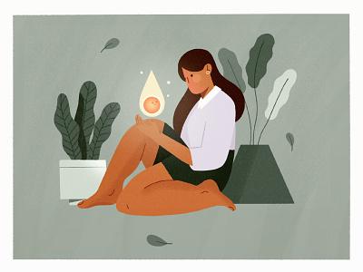 little fire 🔥 womenofillustration ipad flat illustration hand drawn light fire scene girl character texture art plants procreate design illustration