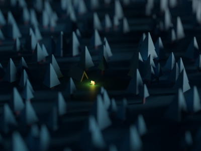 Camp lowpoly 3d blender