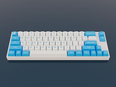 Brands as keyboards #1: Twitter twitter 3d render keyboard keycaps blender 3d