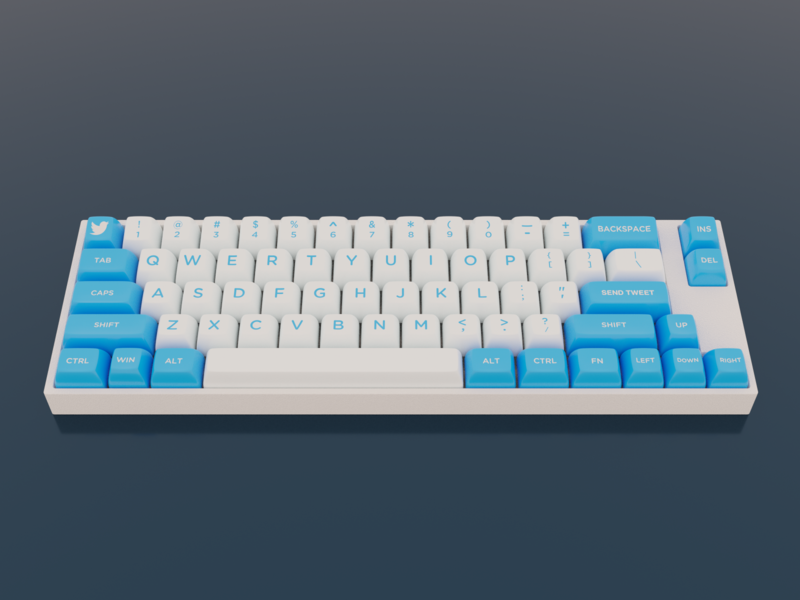 Brands as keyboards #1: Twitter twitter 3d render keyboard keycaps blender 3d
