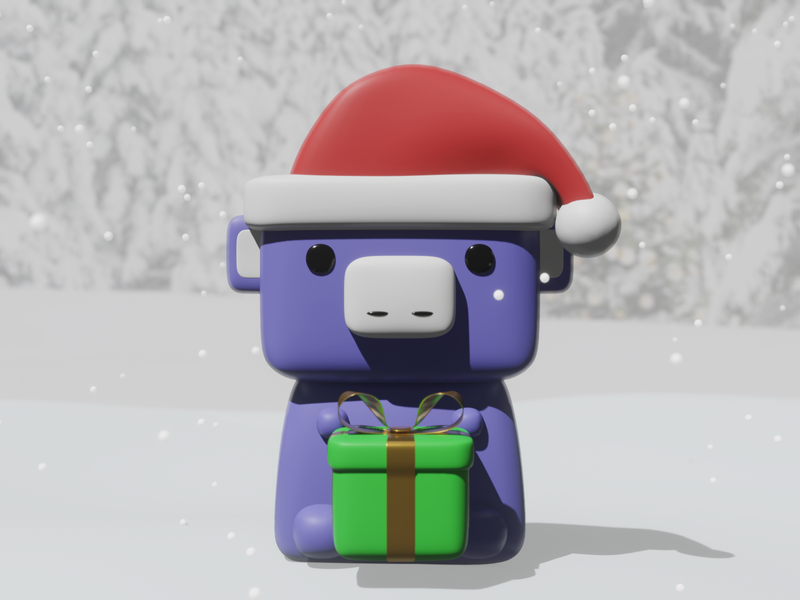 Holiday Wumpus present 3d render christmas holiday wumpus discord app discord illustration blender 3d