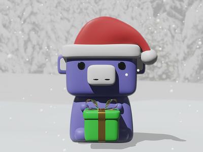 Holiday Wumpus present 3d render christmas holiday wumpus discord app discord illustration blender 3d