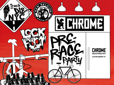 Chrome Industries Pre-Race Party fixed gear fixie nyc flat new york city cycling bikes invite party
