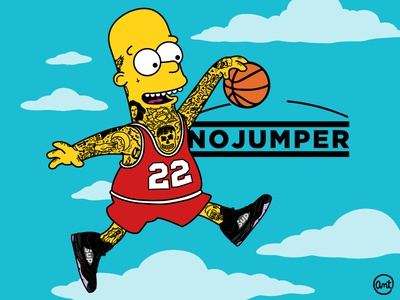 I'm ballin' like an athlete but got no jumper. clouds ux ui hypebeast supreme tattoos flat vector parody bootleg simpson bart