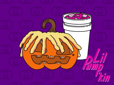 Lil Pump'kin ux ui hand drawn typography logo vector flat xanax lean halloween october pumpkin