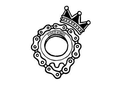 Fixed Kings king crown logo flat hand drawn chain fixed gear cycling bike